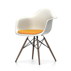 VITRA Eames Plastic Armchair with cushion and dark base DAW NEW DIMENSIONS