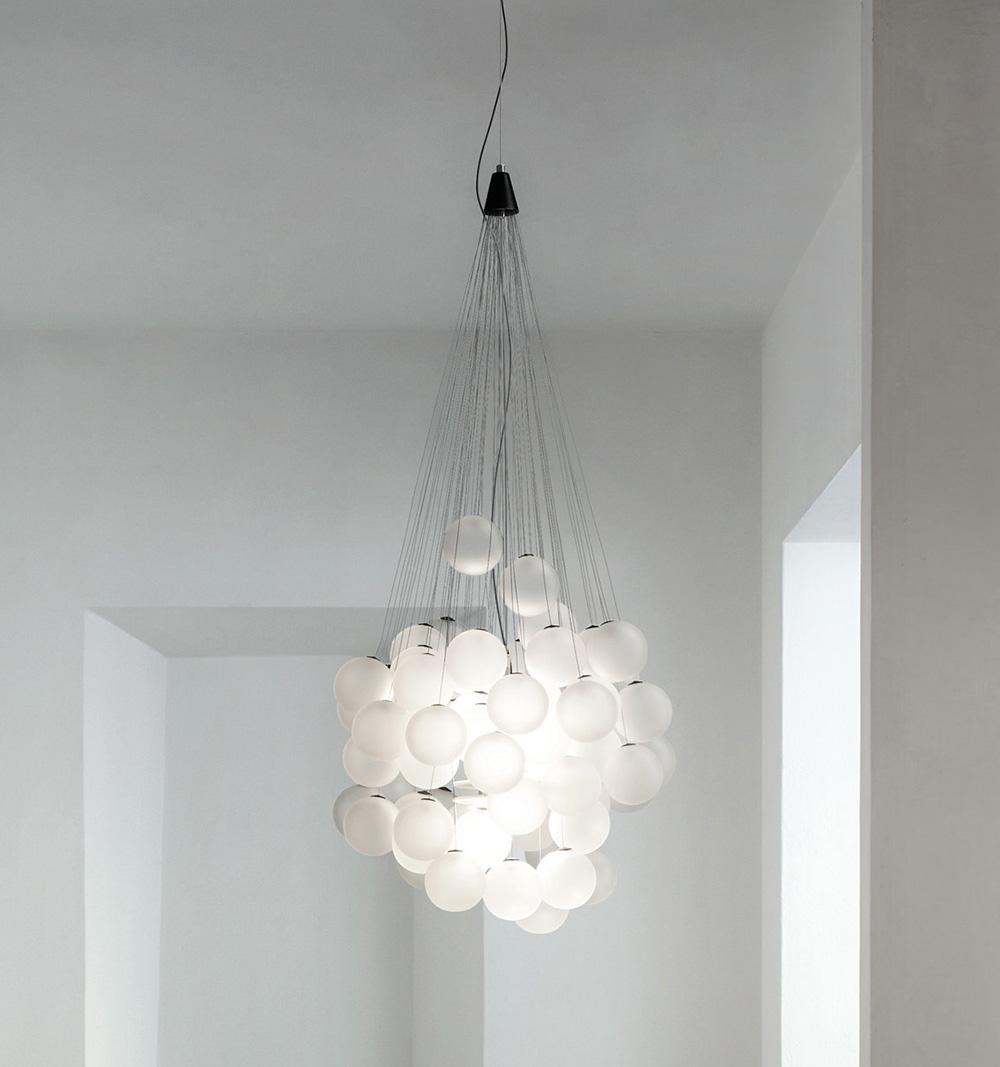 Lampade Sospensione A Grappolo luceplan lampada a sospensione stochastic con 48 elementi d87sp (bianco  opalino - acciaio e vetro)