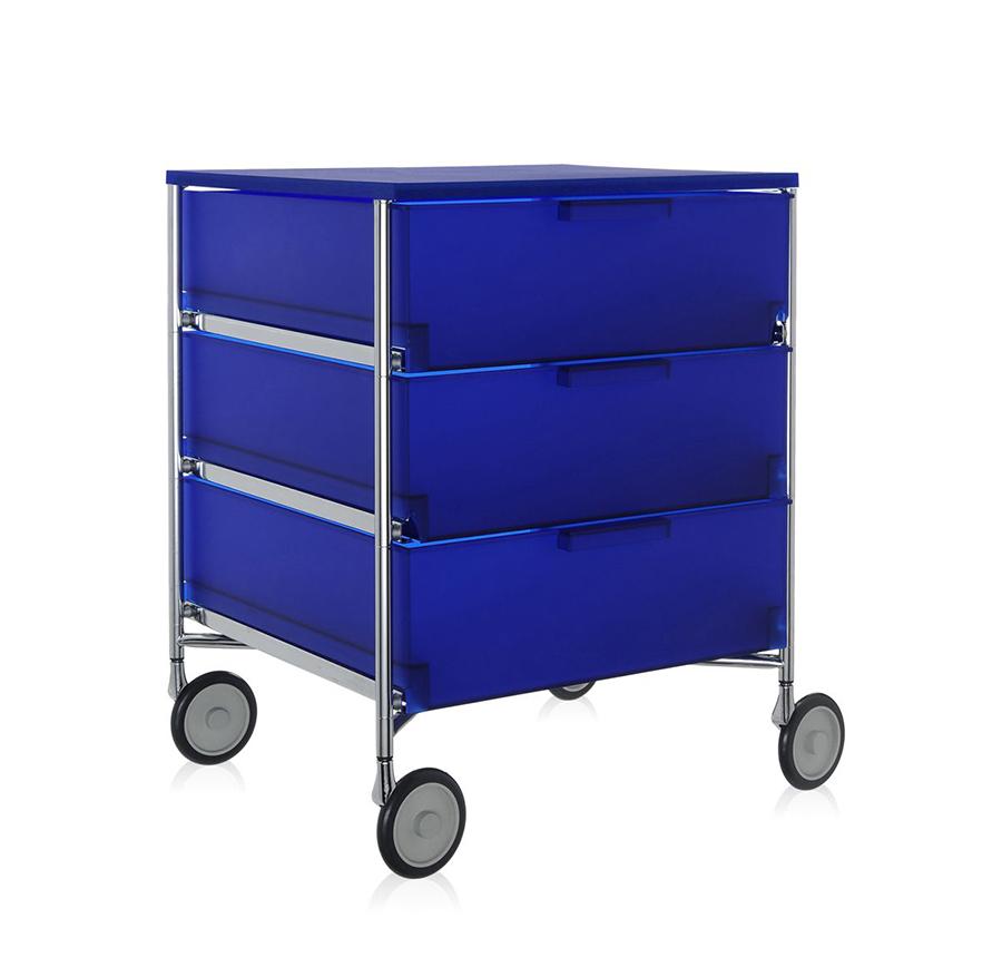 Kartell mobile con ruote a 3 cassetti mobil cobalto for Mobile con ruote