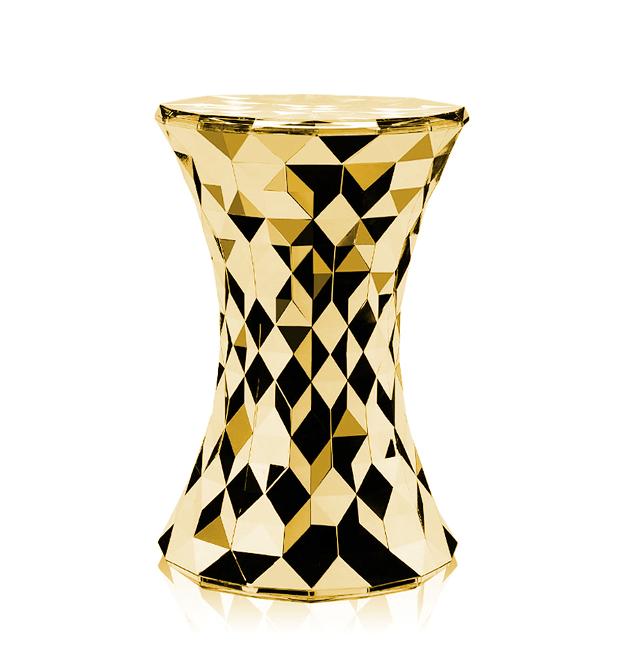 Kartell Stool Stone Dune Metal Precious Collection Gold