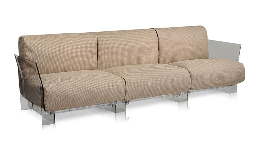 Kartell divano a 3 posti per esterni pop outdoor tortora policarbonato trasparente e tessuto - Divano per esterni ...