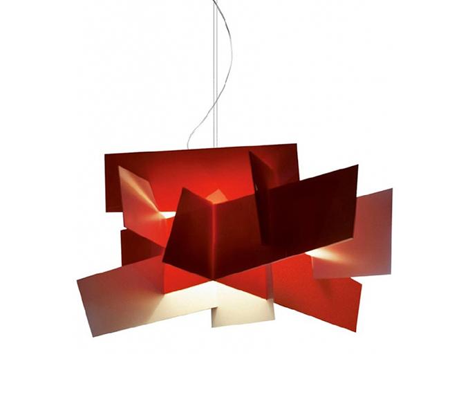 Lampada Big Bang Foscarini.Foscarini Lampada A Sospensione Big Bang Led Rosso Interno Bianco