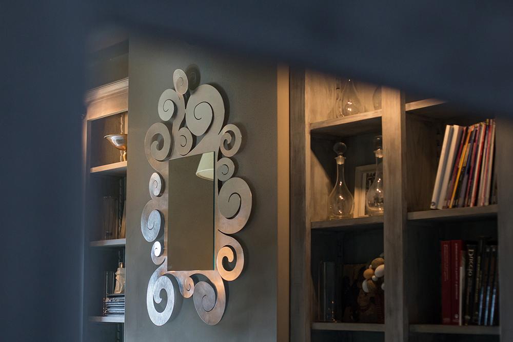 Arti e mestieri specchio da parete temple grande foglia argento metallo - Specchio arti e mestieri ...
