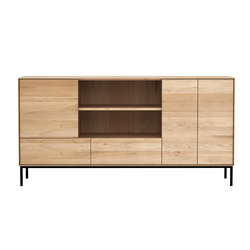 ETHNICRAFT furniture sideboard WHITEBIRD with 3 doors and 2 drawers