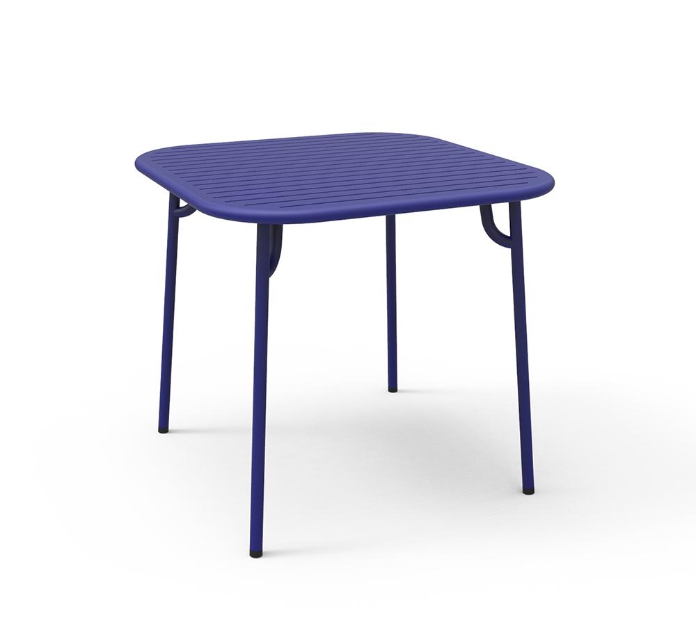 Tavolo Quadrato Da Esterno.Petite Friture Tavolo Quadrato Da Esterni Week End Blu Alluminio