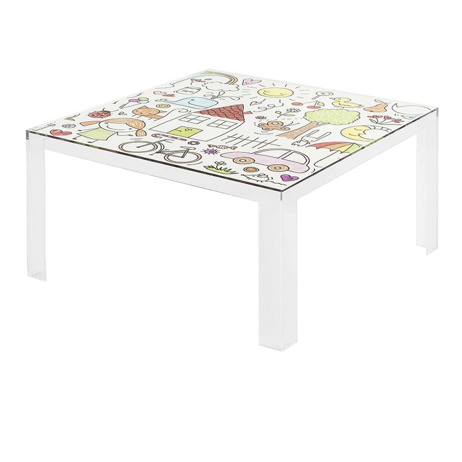 Kartell Kids Coffee Table Invisible Table Transparent With Drawings