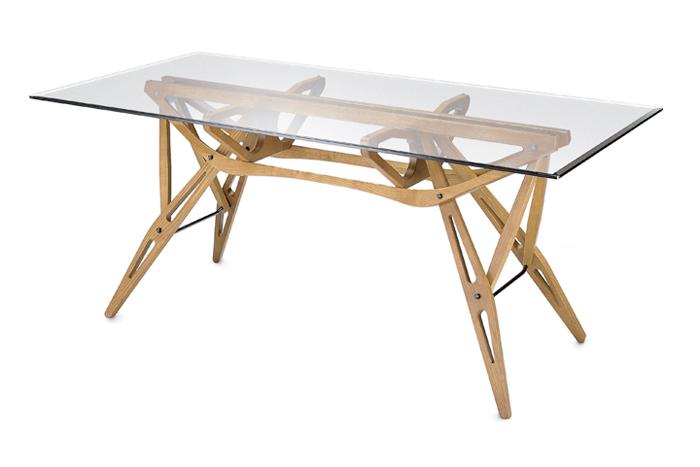 Zanotta tavolo con piano in vetro reale - Tavolo con piano in vetro ...
