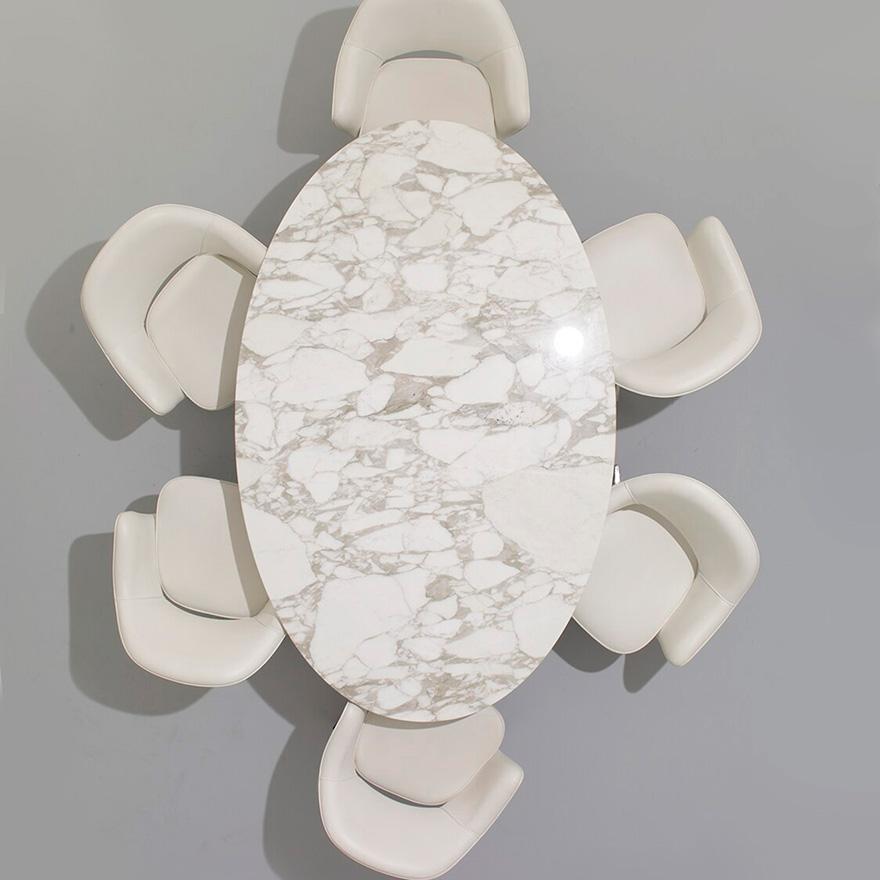 Knoll Tavolo Ovale Alto Tulip Collezione Eero Saarinen 198x121cm Base Bianca Piano In Noce Legno E Alluminio Myareadesign It