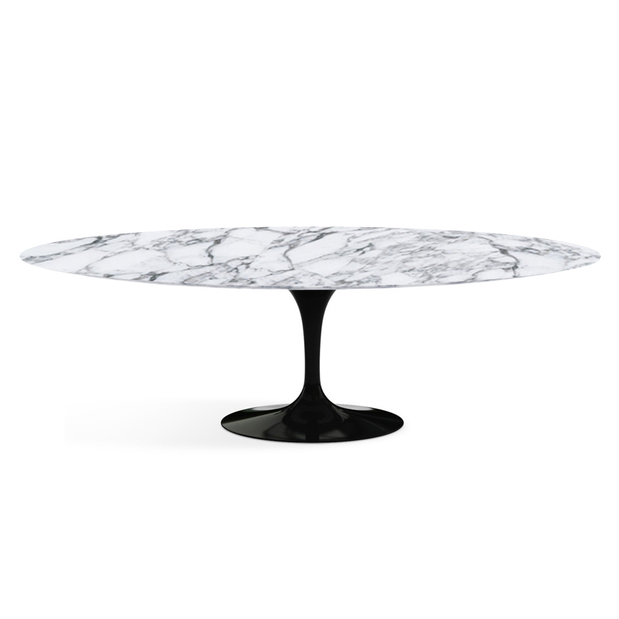 Knoll tavolo ovale alto tulip collezione eero saarinen 244x137 cm base nera piano arabescato - Tavolo knoll saarinen ovale ...