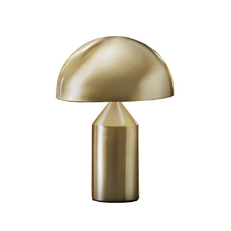 Oluce lampada da tavolo atollo piccola esterno oro interno bianco metallo - Lampada da tavolo atollo ...