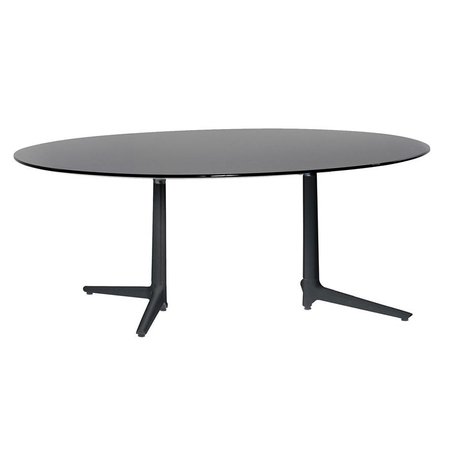 Tavoli Da Pranzo Kartell.Kartell Tavolo Multiplo Xl Con Piano Ovale Nero Alluminio