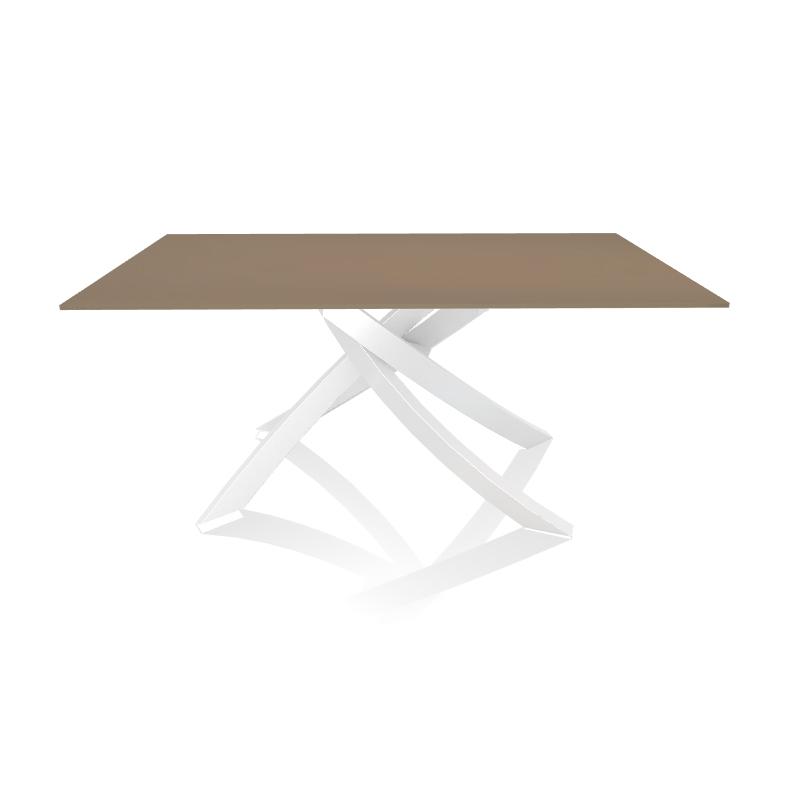 Tavoli In Acciaio E Cristallo.Bontempi Casa Tavolo Con Struttura Bianca Artistico 20 13 160x90