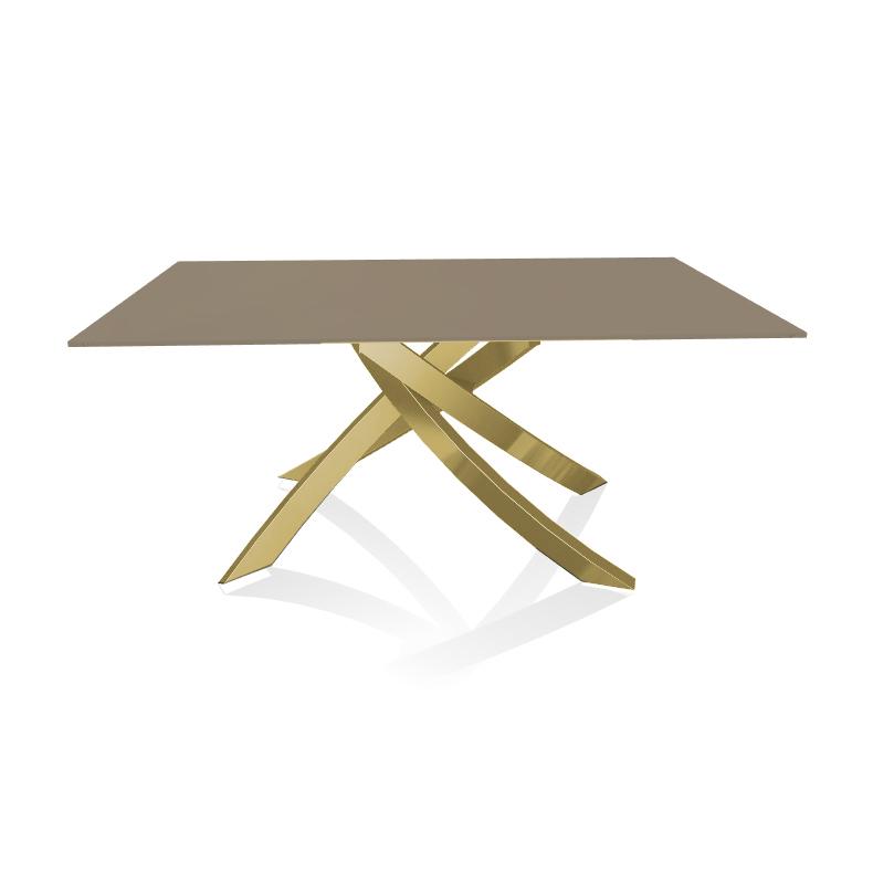 Tavoli In Acciaio E Cristallo.Bontempi Casa Tavolo Con Struttura Oro Artistico 20 13 160x90 Cm
