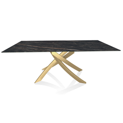 BONTEMPI CASA table with gold frame ARTISTICO 52.45 200x100 cm
