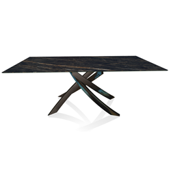 BONTEMPI CASA table with glossy black frame ARTISTICO 52.45 200x100 cm