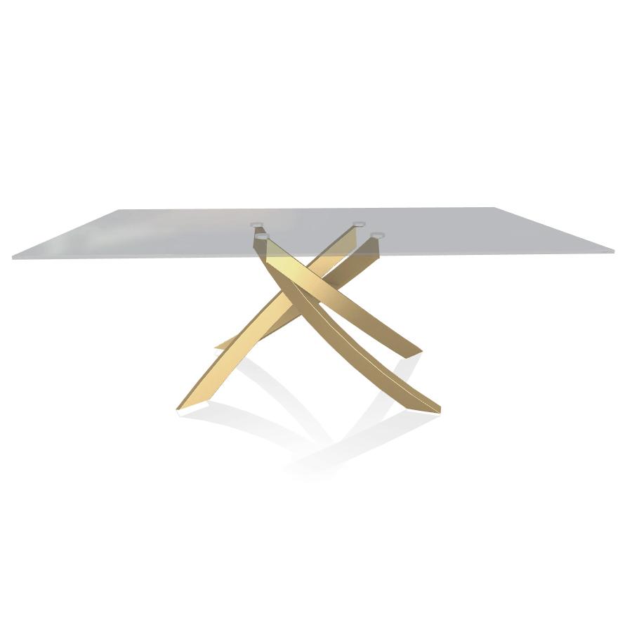 Tavoli In Acciaio E Cristallo.Bontempi Casa Tavolo Con Struttura Oro Artistico 20 01 200x106 Cm
