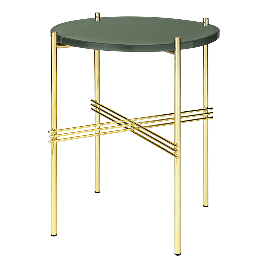 Gubi Round Coffee Table With Brass Frame Ts O 40 X 51 Cm