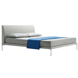 ZANOTTA double bed TALAMO with satin nickel footsies for a mattress size 160 x 200 cm