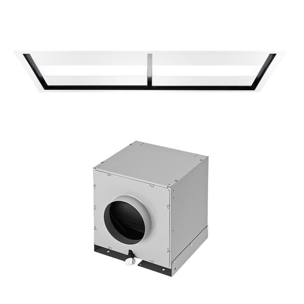 falmec hotte au plafond nuvola 140 cm blanc avec moteur sous combles 950 m3 h acier et verre. Black Bedroom Furniture Sets. Home Design Ideas