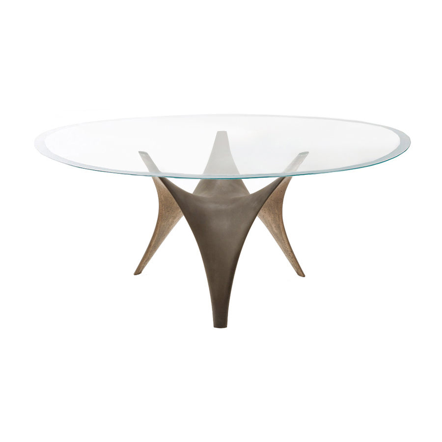 MOLTENI & C oval table ARC 180 x 120 cm (Bronze - extraclear transparent  glass and cement)