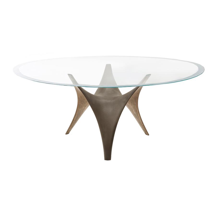 MOLTENI & C tavolo ovale ARC 220 x 140 cm (Bronzo - Vetro trasparente  extrachiaro e cemento)