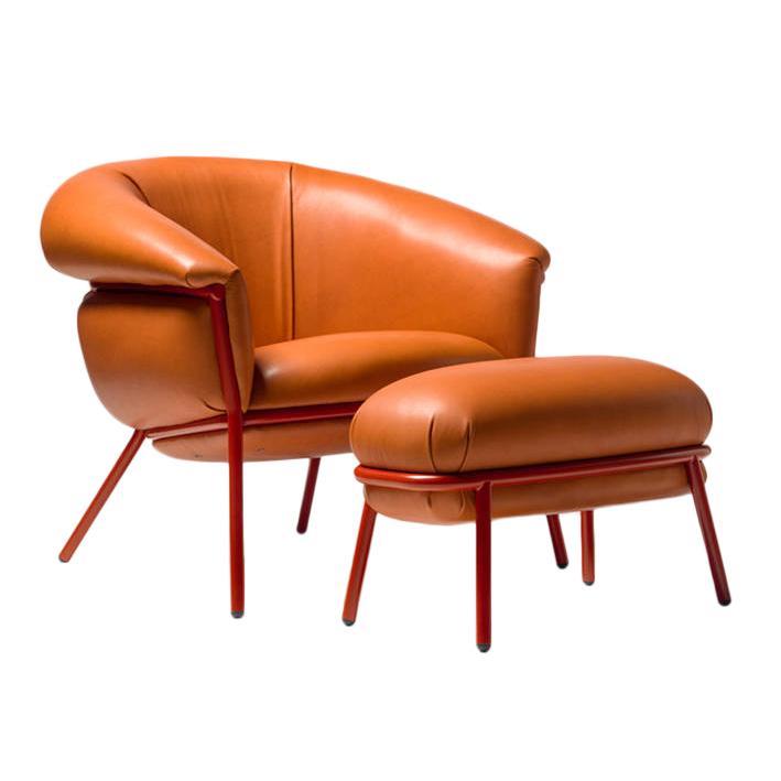 Poltrone E Pouf Design.Bd Barcelona Design Poltrona Con Poggiapiedi Pouf Ottoman