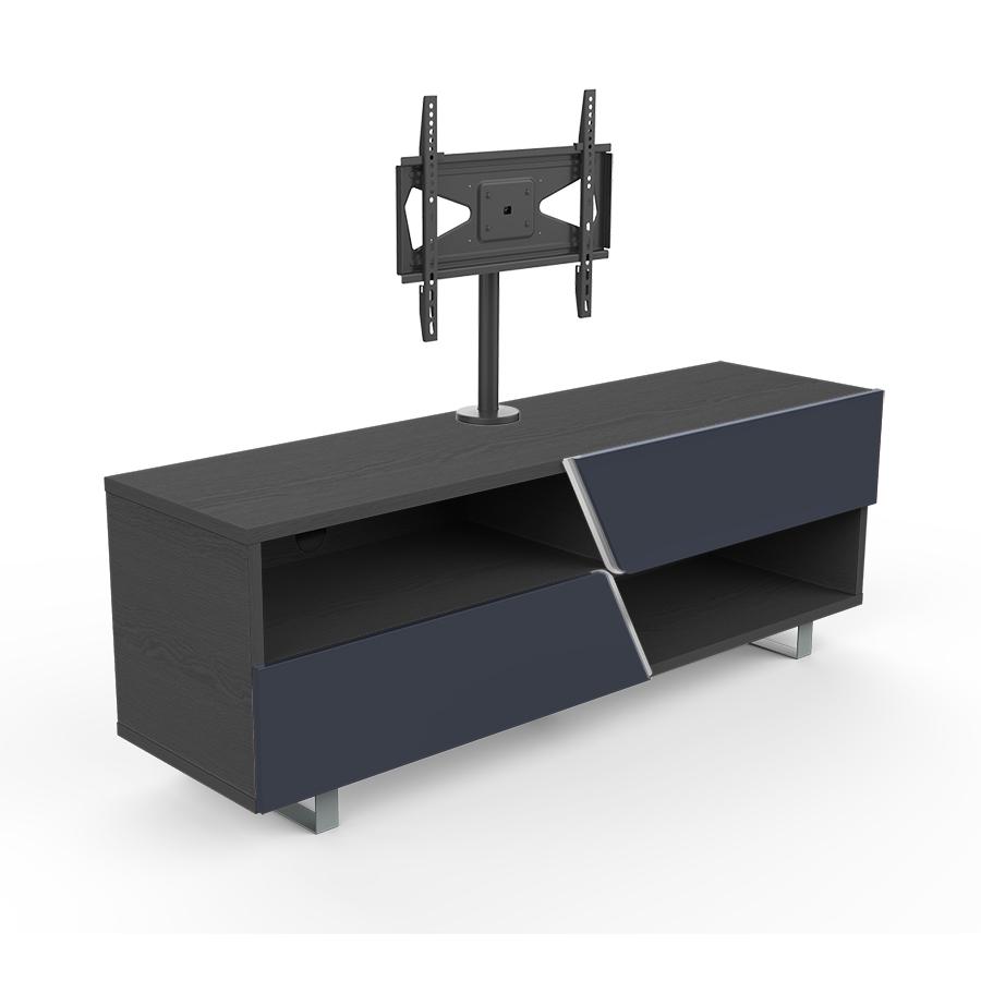 Kairos Home Meuble Tv Mk162 Kc055ne Jusqu A 55 Orme Fonce Gris Fonce Bois Verre Et Metal