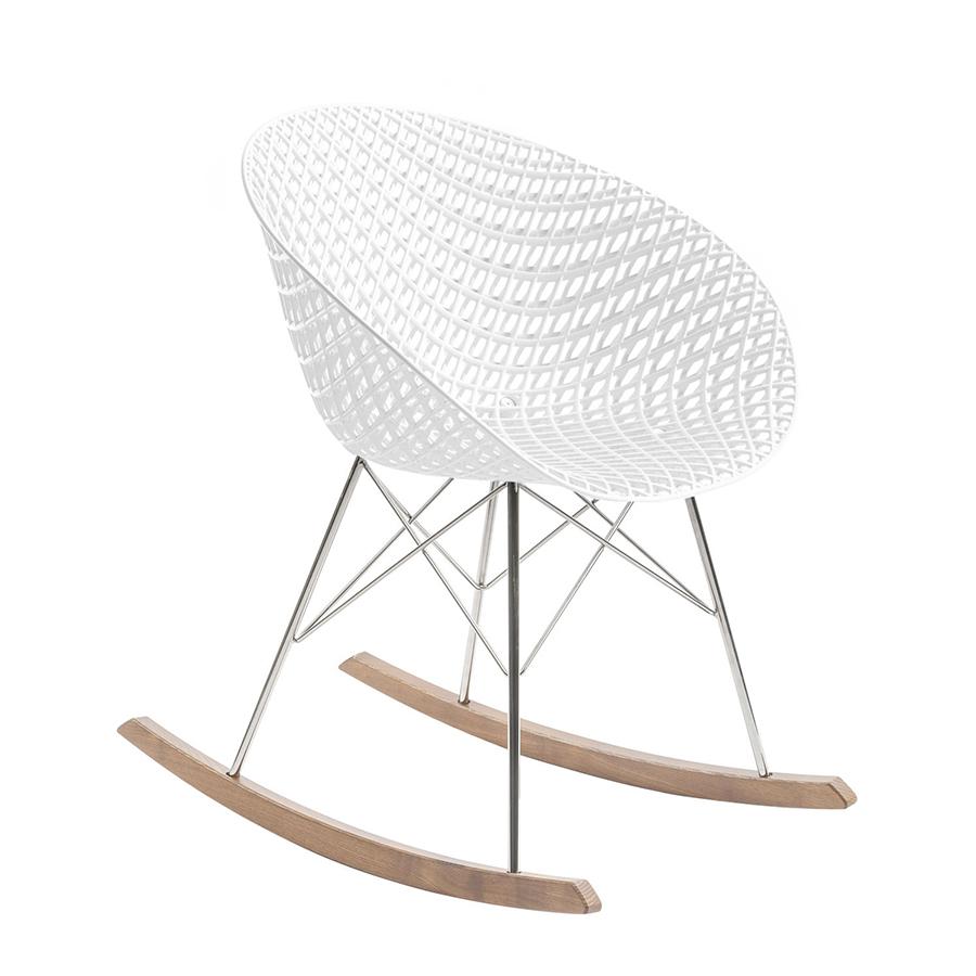 KARTELL sedia a dondolo SMATRIK (Bianco Policarbonato colorato in massa, legno tinto rovere e acciaio cromato)