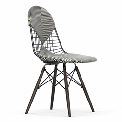 VITRA chair with dark base and cushion Wire Chair DKW-2 Bikini Checker