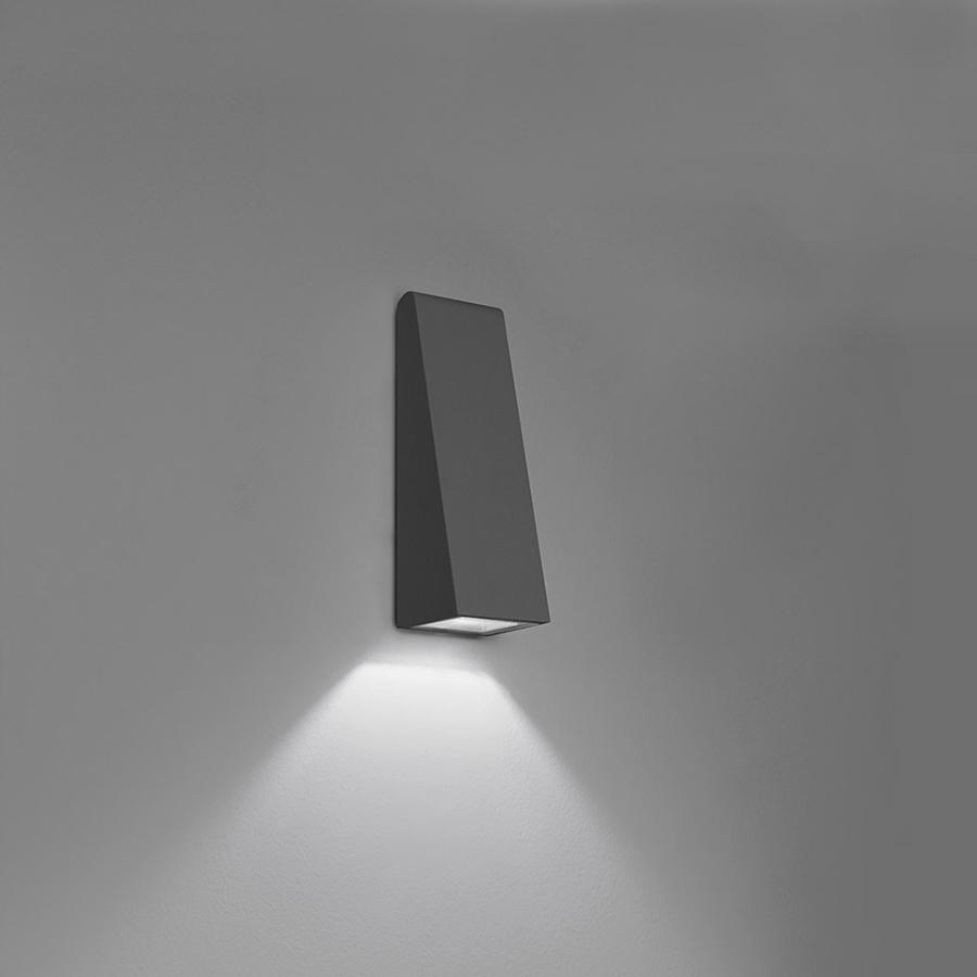 Artemide Lampe Murale Applique Pour Exterieur Cuneo Mini Gris Anthracite Aluminium Et Methacrylate