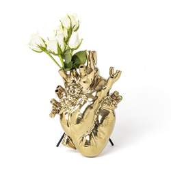 SELETTI heart shaped vase LOVE IN BLOOM GOLD