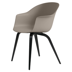 GUBI chair with arms BAT DINING CHAIR with black beech base
