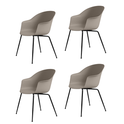 GUBI set of 4 chairs with arms BAT DINING CHAIR with black base