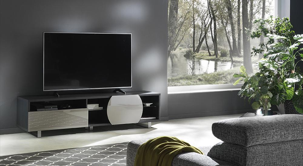 Porta Tv Lcd Vetro.Kairos Home Mobile Porta Tv Mk195 Fino A 75 Olmo Scuro Grigio