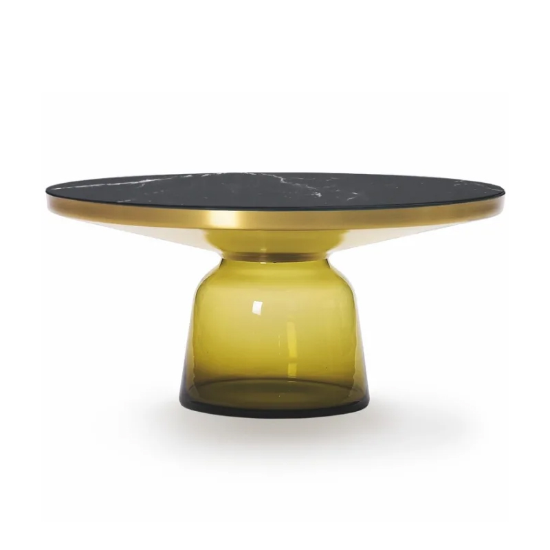 Classicon Bell Coffee Table Topaz Yellow Brass Structure Black