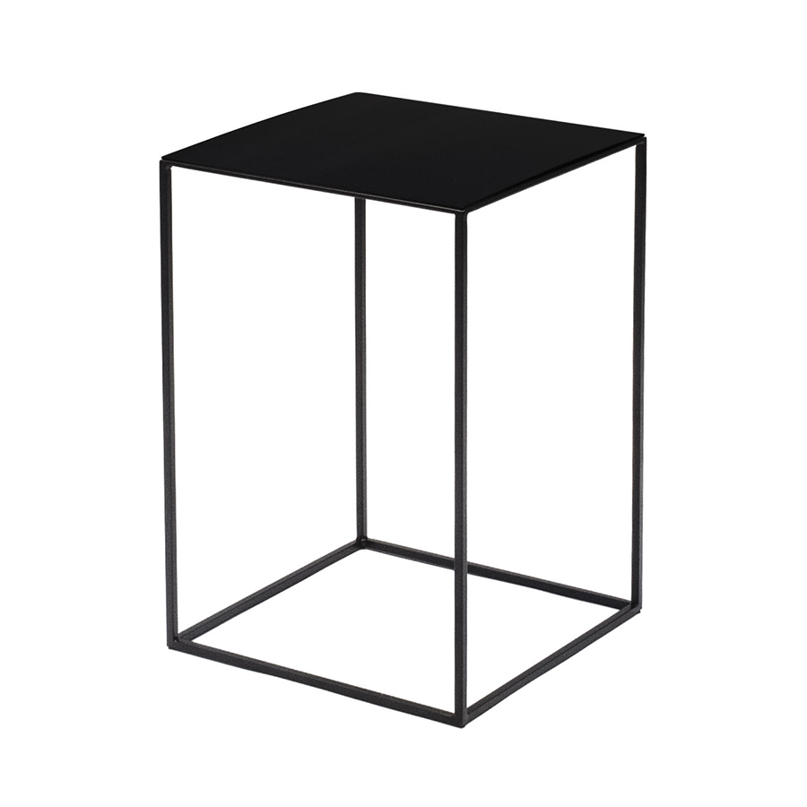 Zeus Square Coffee Table Slim Irony Low Table 31 X 31 Cm H 46 Cm Sanded Black Copper Varnished Metal Myareadesign It