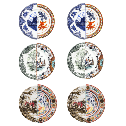 SELETTI set of 6 dinner plates HYBRID