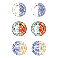SELETTI set of 6 soup bowls plates HYBRID