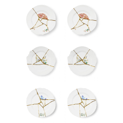 SELETTI set of 6 dinner plates KINTSUGI