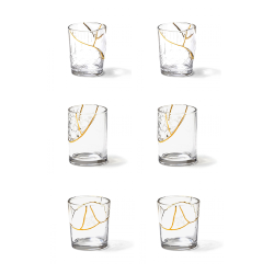 SELETTI set of 6 glasses KINTSUGI GLASS