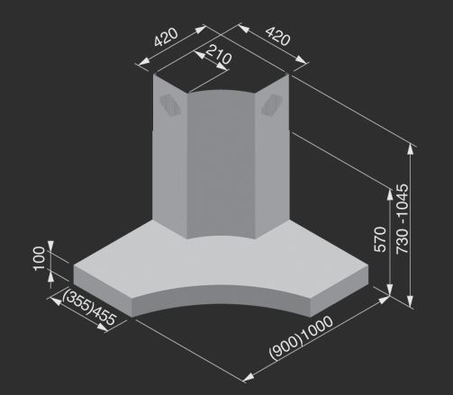 airone hotte d 39 angle zeus angolare 90 cm acier inox. Black Bedroom Furniture Sets. Home Design Ideas