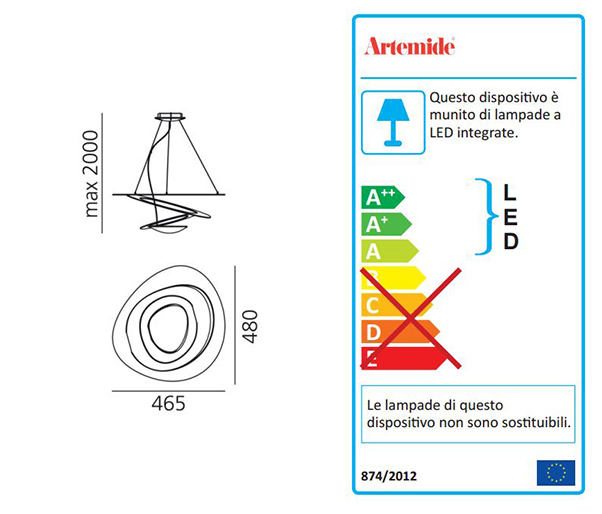artemide lampada a sospensione pirce micro a led 3000k. Black Bedroom Furniture Sets. Home Design Ideas