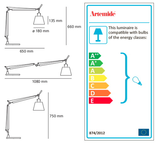 ARTEMIDE TOLOMEO BASCULANTE TABLE