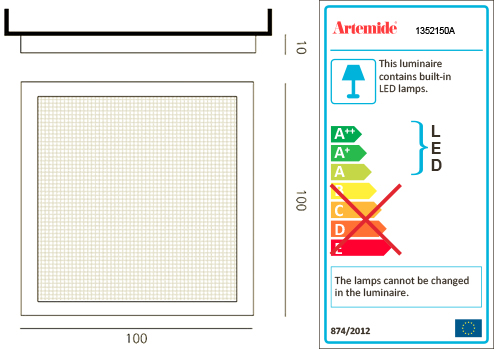 ARTEMIDE ALTROVE LED WALL/CEILING LUCE DIRETTA
