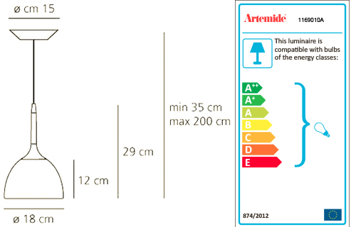 ARTEMIDE CASTORE CALICE 18 SUSPENSION