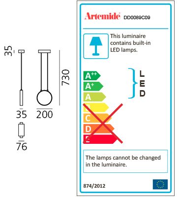 ARTEMIDE ECLITTICA 20 SUSPENSION