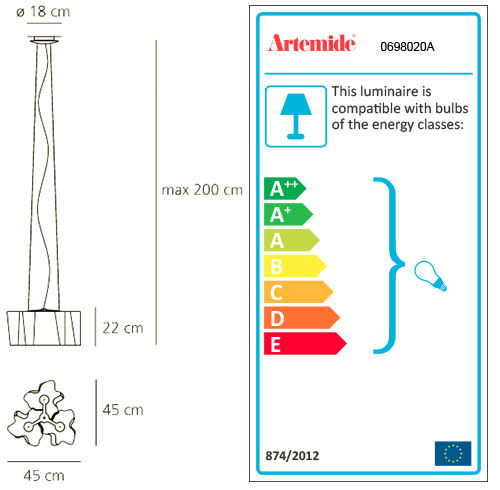 ARTEMIDE LOGICO MINI SUSPENSION 3x120°