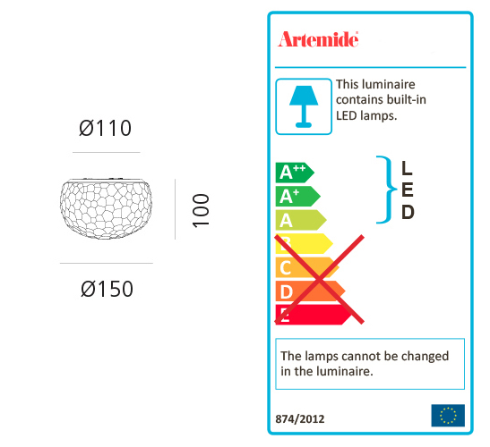 ARTEMIDE METEORITE 15 LED MINI WALL/CEILING