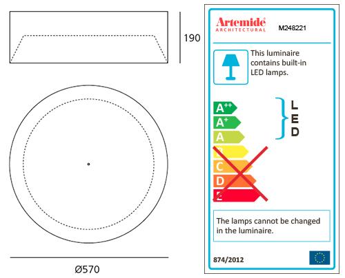 artemide lampe de plafond tagora ceiling 570 avec le faisceau lumineux xf noir orange 3000k. Black Bedroom Furniture Sets. Home Design Ideas