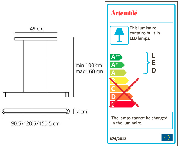 ARTEMIDE TALO 120 LED SUSPENSION